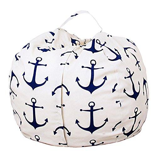 "LAGHCAT Stuffed Animal Storage Bean Bag Chair Cover Stuffed Animal Storage Bean Bag Premium Cotton Canvas Storage Hammock & Organizer for Kids' Plush, Jumbo & Cuddly Toys (Navy Anchor-White, 38"")"
