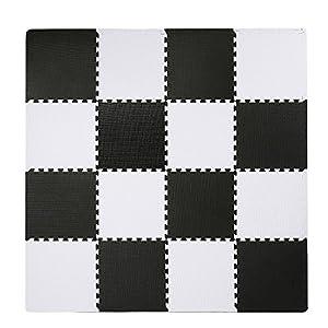SUPERJARE Interlocking Floor Tiles, 16 Tiles (16 Tiles = 16 sq.ft) EVA Foam Puzzle Mat with Borders – White and Black