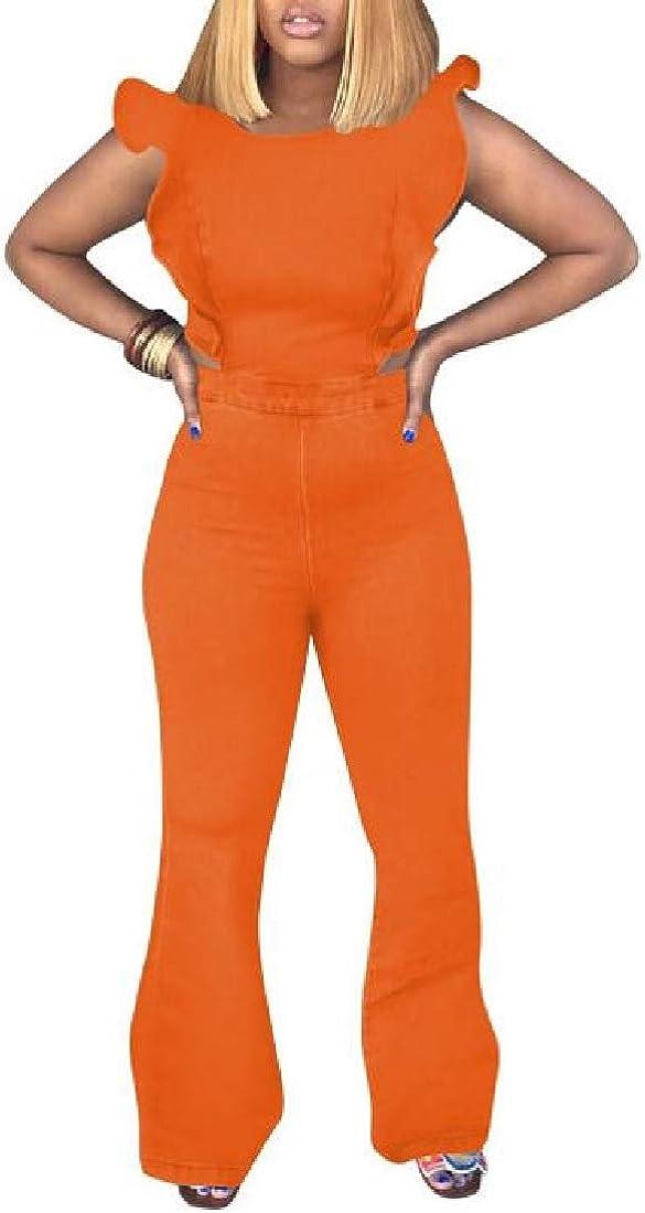 pipigo Womens Washed Denim Sleeveless Bell Bottom Flared Pants Ruffle Jumpsuit Romper