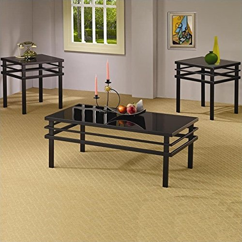 Coaster 3 Piece Occasional Table Sets Modern Coffee and End Table Set in Black by Coaster Home Furnishings (Image #5)