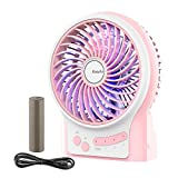 Battery Fan, EasyAcc Rechargeable Fan Portable Handheld Personal Mini USB fan with 2600mA Battery 3-15 hours 3 Speeds Internal and Side Light Cooling for Traveling,Fishing,Camping - Pink