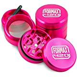 FORMAX420 Pink CNC Metal Herb Grinder 4 Pieces 1.5 inch with Pollen Catcher and Free Scraper Crusher