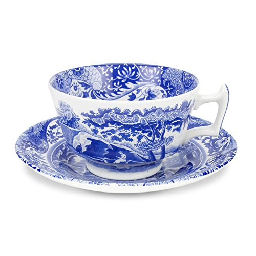 - Spode Blue Italian Earthenware Teacup and Saucer