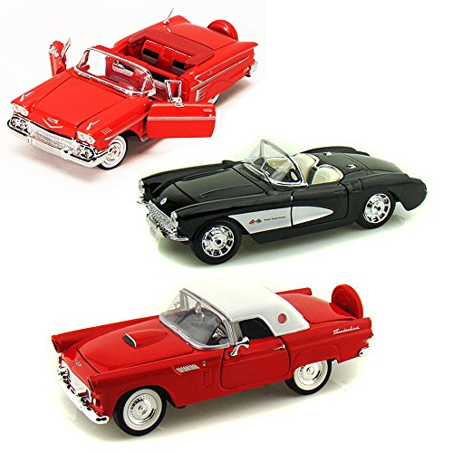 Best of 1950s Diecast Cars - Set 58 - Set of Three 1/24 Scale Diecast Model (Diecast 1957 Chevy Corvette)