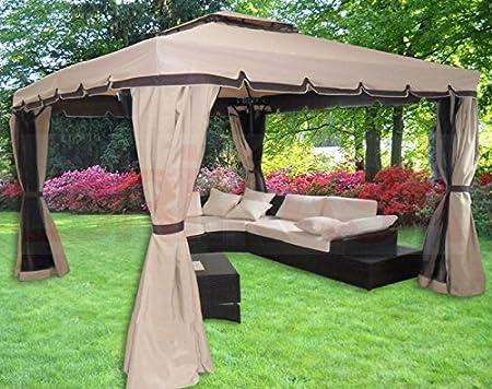 DIMAPLAST Cenador 3 x 3 jardín de Aluminio Cubierta 250 gr. Lluvia mosquiteras y Toallas Laterales: Amazon.es: Jardín