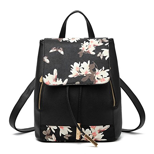 STARSCITY Fashion Shoulder Bag Rucksack PU Leather Women Girls Ladies Backpack Travel bag(Flowers black) (Fashion Purses)