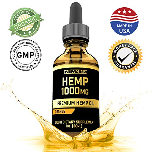 Hemp Oil for Pain Relief 1000mg :: Promotes Healthy Sleep & Anxiety Relief :: Helps with Hair, Skin, Nails, Heart Health:: Rich in Omega 3 and 6 Fatty Acids :: iVitamins Hemp Oil :: Orange Flavor