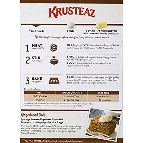 Krusteaz Bakery Style Gingerbread Cookie Mix, 17.5-Ounce Boxes (Pack of 12)