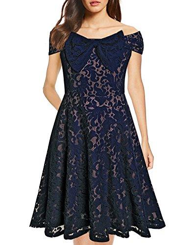 Swing Knot Dress (Women's Vintage Floral Lace Christmas Dress Off Shoulder Bow-Knot Cocktail Formal Swing Dresses (Large, O-Navy Blue))