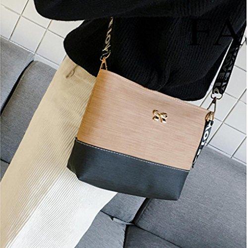 Bolsos Hombro ESAILQ y Bandolera Baratos Niña Piel Negro de para S Shoppers Pequeña Caqui de Mujer r1qnwr5