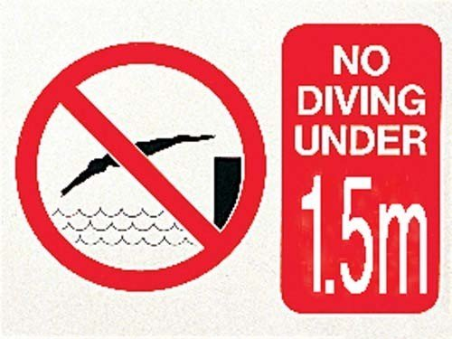 Swimming Pool Safety & Warning No Diving Under 1.5 Meter Foamex Sign 300x400x2mm OSG