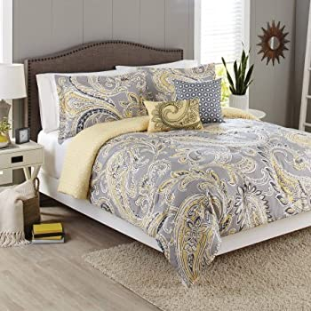 Better Homes And Gardens 5 Piece Bedding Comforter Set, Yellow Grey Paisley  Size: Full/Queen