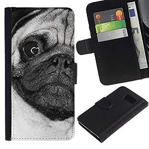 EuroCase - Samsung Galaxy S6 SM-G920 - pug weird black white face close dog - Cuero PU Delgado caso cubierta Shell Armor Funda Case Cover