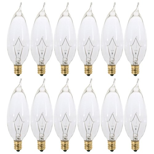 (Pack of 12) 15 Watt Clear Candelabra Base (E12) Flame Tip 120V Decorative Dimmable Chandelier Lights Bulbs ()