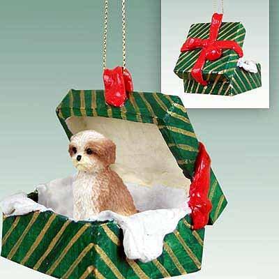 Dog Green Gift Box - Shih Tzu Puppy Cut Green Gift Box Dog Ornament - Brown & White