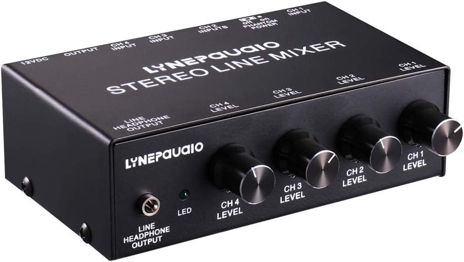 LYNQYGmixer de Audio Equipo de sintonía LINEPAUDIO B895 de Cinco Canales de micrófono estéreo Mezclador con Auriculares Monitoreo (Negro) (Color : Black)