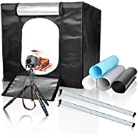 Emart 32x32 Inch /80x80 Cm Adjustable Brightness Photo Lighting Studio Shooting Tent Box Kit with 4 Colors Backdrops (White, Blue, Gray, Black) for Photography