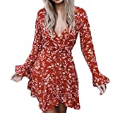 Spbamboo Women Chiffon Floral Flare Sleeve Bow Shirt Leopard Print Top Blouse
