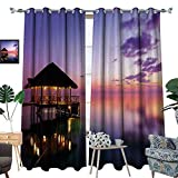 perfect patio arbor design ideas homehot Tropical Room Darkening Wide Curtains Arbor on Sea at Dramatic Night Paradise Maldives Sky Exquisite Coast View Art Print Customized Curtains Purple