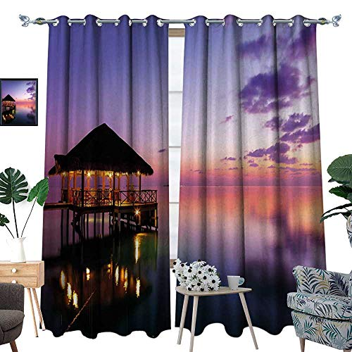 homehot Tropical Room Darkening Wide Curtains Arbor on Sea at Dramatic Night Paradise Maldives Sky Exquisite Coast View Art Print Customized Curtains Purple