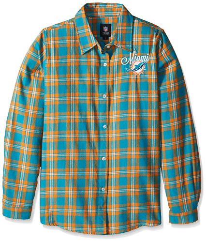 Miami Dolphins 2016 Wordmark Basic Flannel Shirt - Womens Large by Forever Collectibles