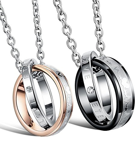 LOVE Beauties His & Hers Matching Set Titanium Stainless Steel Couple