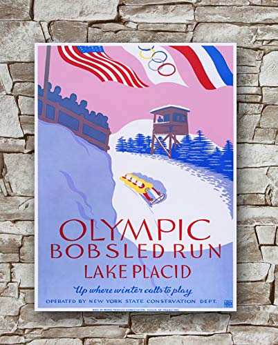 (Huawuque 1938 Winter Olympics Bobsled Lake Placid Poster Standard Size | 18-Inches by 24-Inches | Olympics Bobsled Lake Placid Posters Wall Poster Print)