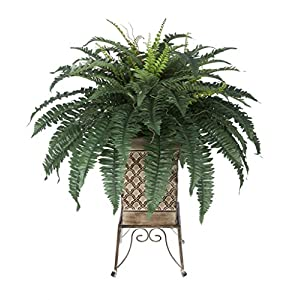 House of Silk Flowers Artificial Fern in Small Planter Stand 36