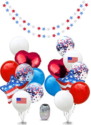 4th of July Decor, Fourth of July Decor, Independence Day Decorations, Memorial Day, Military Homecomings, Patriotic, Red White and Blue Decorations, Star Garlands Decor, US America Flag, USA American Flags, -