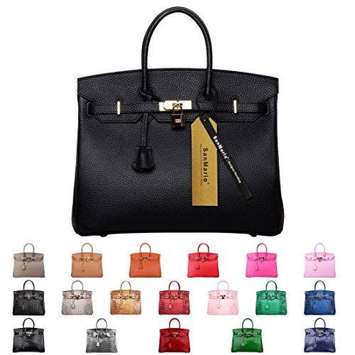SanMario Designer Handbag 40cm/16'' Oversized Top Handle Padlock Women's Leather Bag with Golden Hardware Black by SanMario