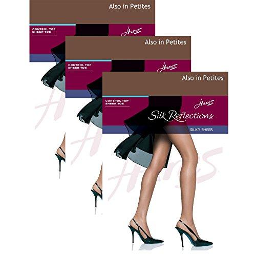 Hanes womens Silk Reflections Sheer Toe Pantyhose(00715)-Gentlebrown-CD-3PK -