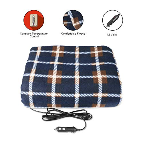GOGOLO Electric Heated Car Blanket 12V, Portable Fireproof Travel Heated Fleece Blanket for Camping, Trip, Cigarette Lighter Plug, 58