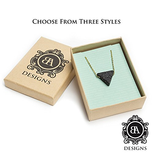 Essential Oil Diffuser & Aromatherapy Necklace   Triangle Lava Bead Jewelry   Stainless Steel Chain … (Gold Stainless Chain)