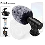 Phone Microphone and Video Microphone, Super-Cardioid Camera Microphone with Deadcat Windscreen and Earphone Monitor Hole Works with iPhone/Andoid/Smartphones/Camera (3.5mm Interface)