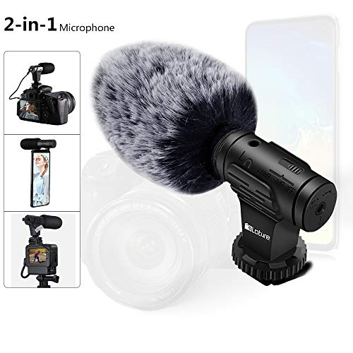 Phone Microphone and Video Microphone, Super-Cardioid Camera Microphone with Deadcat Windscreen and Earphone Monitor Hole Works with iPhone/Andoid/Smartphones/Camera