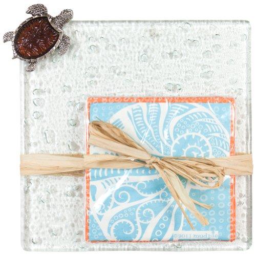Mud pie - Turtle Amber Icon Board With Twelve Nautilus Napkins