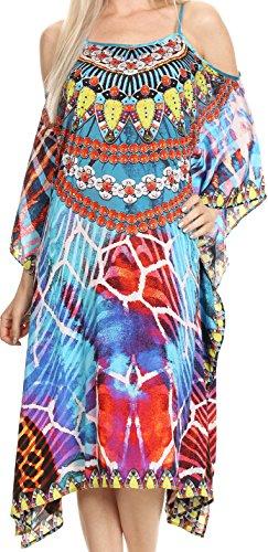Sakkas P14 - Amaya Loose Fit Long Printed Strappy Cutout Shoulder Boat Neck Kaftan Dress - 17014-Turq - OS ()