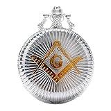 New Brand Mall Engraved Freemasonry Masonic Silver Finish Quartz Pocket Watch With Chain