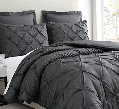 Estellar 3pc King/Cal-King Size Comforter Set Pinch Pleat Pattern Down Alternative Pintuck Bedding | Charcoal Grey All Season Bed Cover Set (5 King Piece Ensemble Comforter)