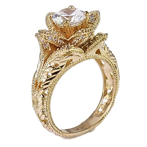 Hand Carved Vintage Inspired Blooming Rose Flower CZ Engagement Ring Rose Gold Plated Size 10 (Ring Rose Shaped)