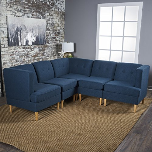 Milltown 5pc Mid-Century Tufted Modular Sectional Sofa with Birch Wood Legs, Comfortable, Convertible & Interlocking Danish Modern Furniture Set - Navy Blue, Light or Dark Gray Fabric