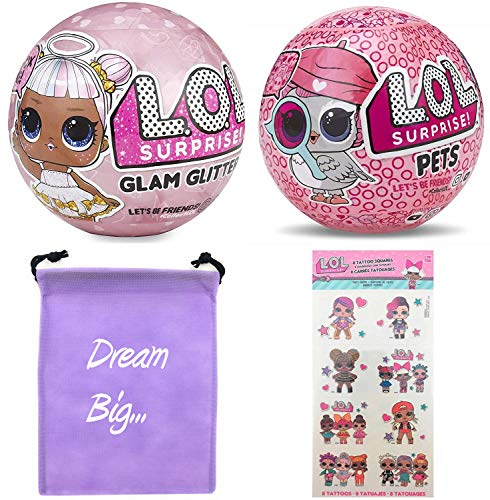LOL Surprise Dolls Gift Bundle Includes (1) Limited Edition Glitter Glam + (1) Eye Spy Series 4 Pets + 8 L.O.L Tattoos + Bonus Action Media Storage ()