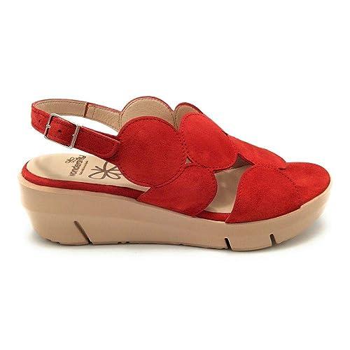 44c8e0bb04b Wonders Fly D8210 Sandalia cuña Ante Rojo: Amazon.es: Zapatos y complementos