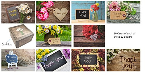 100 Floral Thank You Cards & Envelopes, Bulk Flower Cards (10 Designs), Rustic Premium Boxed Set, Self Seal Envelopes, Stylish Gift Box, Weddings, Baby Shower, Birthdays, Christmas, Graduation
