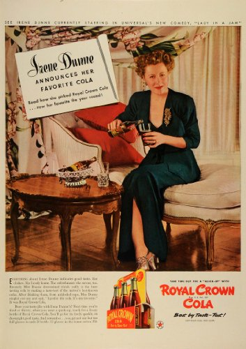 1942 Ad Royal Crown Cola Soda Pop Bottle Film Actress Singer Irene Dunne Price - Original Print Ad from PeriodPaper LLC-Collectible Original Print Archive