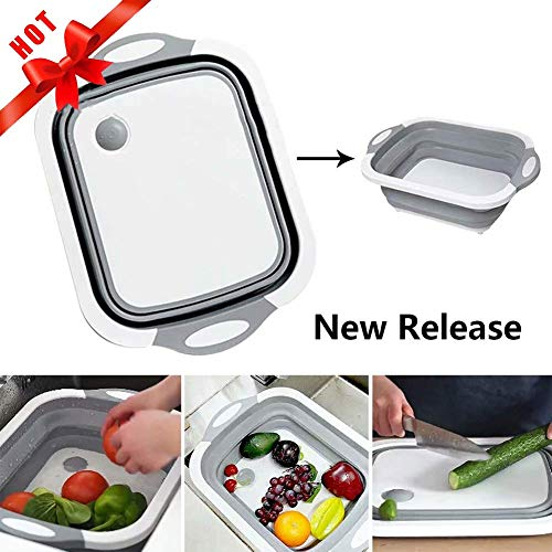 Multi-function Folding Cutting Board New Upgrade Vegetable Sink 3 in 1 Portable Cutting Board Drain Basket Kitchen Cutting Board Tool for Cutting Vegetables and Fruits