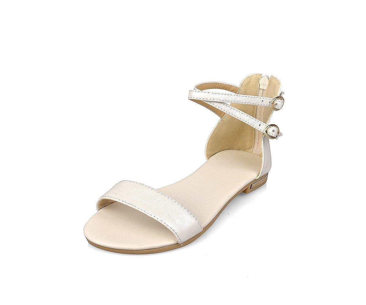 Unbekannt Schnalle Damen Sandalen Open Toe Flache Schnalle Unbekannt Niedrig - Verfolgte Wild Beige 39 c6e580