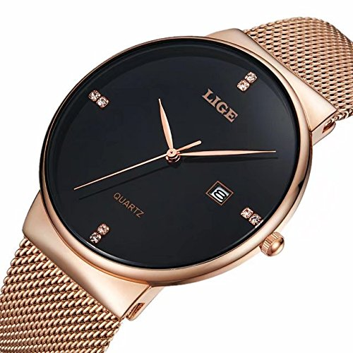 LIGE Slim Case Mens Watches with Mesh Band Waterproof Calendar Wristwatch Gold Black - Gold Watch Mesh Band Mens