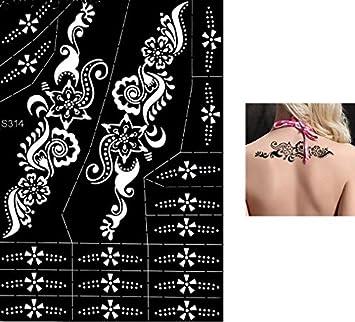 S314 - Plantillas para tatuajes Mehndi de henna, con purpurina o ...