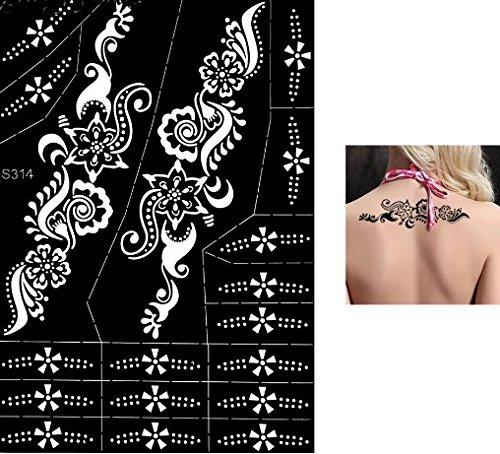 Grande Foglio Mehndi Tattoo Stencil Mehndi Tatuaggi all'hennè S314 - Usa e getta - Per Tatuaggio all'henné, scintillio tatuaggio e airbrush tatuaggio Tie